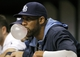 Jun 17, 2014; St. Petersburg, FL, USA; Tampa Bay Rays starting pitcher David Price (14) blows a bubble gum bubble in the dugout against the Baltimore Orioles at Tropicana Field. Baltimore Orioles defeated the Tampa Bay Rays 7-5. Mandatory Credit: Kim Klement-USA TODAY Sports