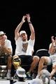 Jun 18, 2014; San Antonio, TX, USA; San Antonio Spurs forward Tiago Splitter (22) waves to the crowd during NBA championship celebrations at Alamodome. Mandatory Credit: Soobum Im-USA TODAY Sports