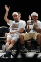 Jun 18, 2014; San Antonio, TX, USA; San Antonio Spurs guard Manu Ginobili (20) waves to the crowd during NBA championship celebrations at Alamodome. Mandatory Credit: Soobum Im-USA TODAY Sports