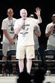 Jun 18, 2014; San Antonio, TX, USA; San Antonio Spurs head coach Gregg Popovich speaks to the crowd during NBA championship celebrations at Alamodome. Mandatory Credit: Soobum Im-USA TODAY Sports