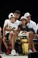 Jun 18, 2014; San Antonio, TX, USA; San Antonio Spurs forward Tim Duncan (21) with his children Draven (left) and Sydney (right) during NBA championship celebrations at Alamodome. Mandatory Credit: Soobum Im-USA TODAY Sports