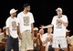 Jun 18, 2014; San Antonio, TX, USA; San Antonio Spurs guard Manu Ginobili (right) speaks as teammates Tony Parker (left) and Tim Duncan (center) listen during NBA championship celebrations at Alamodome. Mandatory Credit: Soobum Im-USA TODAY Sports