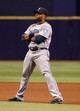 Jun 6, 2014; St. Petersburg, FL, USA; Seattle Mariners second baseman Robinson Cano (22) against the Tampa Bay Rays at Tropicana Field. Tampa Bay Rays defeated the Seattle Mariners 4-0. Mandatory Credit: Kim Klement-USA TODAY Sports