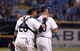 Jun 6, 2014; St. Petersburg, FL, USA; Tampa Bay Rays catcher Jose Molina (28) and relief pitcher Grant Balfour (50) congratulate each other after they neat the Seattle Mariners at Tropicana Field. Tampa Bay Rays defeated the Seattle Mariners 4-0. Mandatory Credit: Kim Klement-USA TODAY Sports