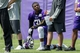 Jun 17, 2014; Eden Prairie, MN, USA;Minnesota Vikings running back Jerick McKinnon (31) rests at practice at Winter Park. Mandatory Credit: Bruce Kluckhohn-USA TODAY Sports