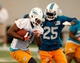 Jun 17, 2014; Davie, FL, USA; Miami Dolphins tight end Stephen Williams (81) catches a pass as defensive back Will Davis defends (25) at Miami Dolphins Training Facility. Mandatory Credit: Robert Mayer-USA TODAY Sports
