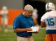 Jun 17, 2014; Davie, FL, USA; Miami Dolphins general manager Dennis Hickey takes notes during mini-camp at Miami Dolphins Training Facility. Mandatory Credit: Robert Mayer-USA TODAY Sports