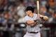 Jun 21, 2014; Phoenix, AZ, USA; San Francisco Giants infielder Joe Panik (12) bats in his MLB debut against the Arizona Diamondbacks at Chase Field. Mandatory Credit: Joe Camporeale-USA TODAY Sports