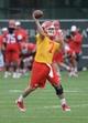Jun 17, 2014; Kansas City, MO, USA; Kansas City Chiefs quarterback Aaron Murray (7) throws passing drills during the Kansas City Chiefs minicamp at University of Kansas Hospital Training Complex. Mandatory Credit: Denny Medley-USA TODAY Sports
