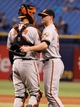 Jun 17, 2014; St. Petersburg, FL, USA; Baltimore Orioles relief pitcher Zach Britton (53) and catcher Caleb Joseph (36) congratulate each other after they beat the Tampa Bay Rays at Tropicana Field. Baltimore Orioles defeated the Tampa Bay Rays 7-5. Mandatory Credit: Kim Klement-USA TODAY Sports