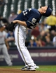 Jun 23, 2014; Milwaukee, WI, USA;  Milwaukee Brewers pitcher Matt Garza (22) gets ready to pitch in the first inning against the Washington Nationals  at Miller Park. Mandatory Credit: Benny Sieu-USA TODAY Sports