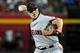 Jun 24, 2014; Phoenix, AZ, USA; Cleveland Indians relief pitcher Vinnie Pestano (52) throws during the sixth inning against the Arizona Diamondbacks at Chase Field. Mandatory Credit: Matt Kartozian-USA TODAY Sports