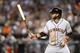 Jun 21, 2014; Phoenix, AZ, USA; San Francisco Giants shortstop Brandon Crawford (35) bats against the Arizona Diamondbacks at Chase Field. The Giants won 6-4. Mandatory Credit: Joe Camporeale-USA TODAY Sports