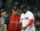 Jun 17, 2014; Boston, MA, USA; Boston Red Sox manager John Farrell (53) congratulates designated hitter David Ortiz (34) after defeating the Minnesota Twins at Fenway Park. Mandatory Credit: Bob DeChiara-USA TODAY Sports