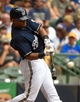 Jun 25, 2014; Milwaukee, WI, USA;  Milwaukee Brewers left fielder Khris Davis (18) hits a solo home run in the fourth inning against the Washington Nationals at Miller Park. Mandatory Credit: Benny Sieu-USA TODAY Sports