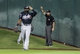 Jun 25, 2014; Houston, TX, USA; Second base umpire James Hoye calls a ground rule double during the fourth inning of a game between the Houston Astros and the Atlanta Braves at Minute Maid Park. Mandatory Credit: Troy Taormina-USA TODAY Sports