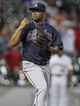 Jun 25, 2014; Houston, TX, USA; Atlanta Braves relief pitcher Juan Jaime (58) reacts after getting the final out during the ninth inning against the Houston Astros at Minute Maid Park. The Braves defeated the Astros 4-0. Mandatory Credit: Troy Taormina-USA TODAY Sports
