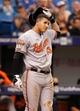 Jun 18, 2014; St. Petersburg, FL, USA; Baltimore Orioles third baseman Manny Machado (13) at bat against the Tampa Bay Rays at Tropicana Field. Mandatory Credit: Kim Klement-USA TODAY Sports