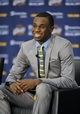 Jun 27, 2014; Independence, OH, USA; Cleveland Cavaliers first round pick Andrew Wiggins speaks to the media at Cleveland Clinic Courts. Mandatory Credit: David Richard-USA TODAY Sports