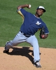 Mar 19, 2014; Peoria, AZ, USA; Milwaukee Brewers relief pitcher Alfredo Figaro (45) pitches in the ninth inning against the Seattle Mariners at Peoria Sports Complex. The Brewers won 9-7. Mandatory Credit: Joe Camporeale-USA TODAY Sports