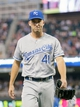 Jun 30, 2014; Minneapolis, MN, USA; Kansas City Royals starting pitcher Danny Duffy (41) walks back to the dugout in the sixth inning against the Minnesota Twins at Target Field. The Kansas City Royals win 6-1. Mandatory Credit: Brad Rempel-USA TODAY Sports