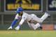 Jun 30, 2014; Minneapolis, MN, USA; Kansas City Royals center fielder Jarrod Dyson (1) slides into third in the seventh inning against the Minnesota Twins at Target Field. The Kansas City Royals win 6-1. Mandatory Credit: Brad Rempel-USA TODAY Sports
