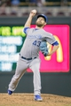 Jun 30, 2014; Minneapolis, MN, USA; Kansas City Royals relief pitcher Aaron Crow (43) pitches in the sixth inning against the Minnesota Twins at Target Field. The Kansas City Royals win 6-1. Mandatory Credit: Brad Rempel-USA TODAY Sports