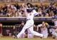Jun 30, 2014; Minneapolis, MN, USA; Minnesota Twins shortstop Eduardo Nunez (9) at bat in the ninth inning against the Kansas City Royals at Target Field. The Kansas City Royals win 6-1. Mandatory Credit: Brad Rempel-USA TODAY Sports