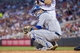 Jun 30, 2014; Minneapolis, MN, USA; Kansas City Royals catcher Salvador Perez (13) looks to his dugout against the Minnesota Twins at Target Field. Mandatory Credit: Brad Rempel-USA TODAY Sports