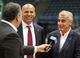 Jul 2, 2014; Milwaukee, WI, USA; Milwaukee Bucks co-owner Marc Lasry (right) responds to a question as new head coach Jason Kidd (center) listens during a post-news conference interview at the BMO Harris Bradley Center. Mandatory Credit: Mary Langenfeld-USA TODAY Sports