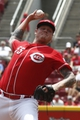Jul 6, 2014; Cincinnati, OH, USA; Cincinnati Reds starting pitcher Mat Latos throws against the Milwaukee Brewers during the first inning at Great American Ball Park. Mandatory Credit: David Kohl-USA TODAY Sports
