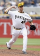 Jul 6, 2014; Pittsburgh, PA, USA; Pittsburgh Pirates relief pitcher Jared Hughes (48) pitches against the Philadelphia Phillies during the ninth inning at PNC Park. The Pirates won 6-2. Mandatory Credit: Charles LeClaire-USA TODAY Sports