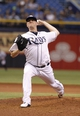Jul 8, 2014; St. Petersburg, FL, USA; Tampa Bay Rays relief pitcher Jake McGee (57) throws a pitch during the ninth inning against the Kansas City Royals at Tropicana Field. Tampa Bay Rays defeated the Kansas City Royals 4-3. Mandatory Credit: Kim Klement-USA TODAY Sports