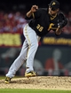 Jul 10, 2014; St. Louis, MO, USA; Pittsburgh Pirates starting pitcher Edinson Volquez (36) throws to a St. Louis Cardinals batter during the ninth inning at Busch Stadium. Pirates defeated the Cardinals 9-1. Mandatory Credit: Jeff Curry-USA TODAY Sports