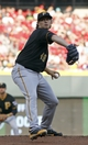Jul 11, 2014; Cincinnati, OH, USA; Pittsburgh Pirates starting pitcher Jeff Locke throws against the Cincinnati Reds in the first inning at Great American Ball Park. Mandatory Credit: David Kohl-USA TODAY Sports
