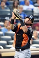 Jul 11, 2014; New York, NY, USA;  Miami Marlins catcher Jarrod Saltalamacchia (39) catches a foul ball for an out during the fourth inning against the New York Mets at Citi Field. Mandatory Credit: Anthony Gruppuso-USA TODAY Sports