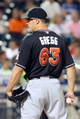 Jul 11, 2014; New York, NY, USA;  Miami Marlins relief pitcher Kevin Gregg (63) pitches during the eighth inning against the New York Mets at Citi Field. Mandatory Credit: Anthony Gruppuso-USA TODAY Sports
