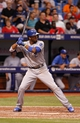 Jul 7, 2014; St. Petersburg, FL, USA; Kansas City Royals shortstop Alcides Escobar (2) at bat against the Tampa Bay Rays at Tropicana Field. Mandatory Credit: Kim Klement-USA TODAY Sports