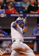 Jul 7, 2014; St. Petersburg, FL, USA; Kansas City Royals left fielder Alex Gordon (4) doubled during the eighth inning against the Tampa Bay Rays at Tropicana Field. Mandatory Credit: Kim Klement-USA TODAY Sports