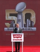 Jul 17, 2014; Santa Clara, CA, USA; NFL commissioner Roger Goodell speaks while standing in front of the Super Bowl 50 logo during the ribbon cutting ceremony at Levi's Stadium. Mandatory Credit: Kelley L Cox-USA TODAY Sports