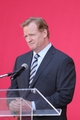 Jul 17, 2014; Santa Clara, CA, USA; NFL commisioner Roger Goodell speaks during a press conference before the ribbon cutting ceremony at Levi's Stadium. Mandatory Credit: Kelley L Cox-USA TODAY Sports