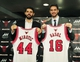Jul 18, 2014; Chicago, IL, USA; Chicago Bulls new players Nikola Mirotic and Pau Gasol pose for photos after a press conference at the United Center. Mandatory Credit: David Banks-USA TODAY Sports