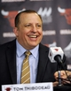 Jul 18, 2014; Chicago, IL, USA;  Chicago Bulls head coach Tom Thibodeau in attendance at a press conference introducing Bulls new player Nikola Mirotic at the United Center. Mandatory Credit: David Banks-USA TODAY Sports