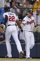 Jul 18, 2014; Atlanta, GA, USA; Atlanta Braves right fielder Jason Heyward (22) is congratulated by third baseman Chris Johnson (23) after a home run against the Philadelphia Phillies in the second inning at Turner Field. Mandatory Credit: Brett Davis-USA TODAY Sports