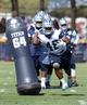 Jul 24, 2014; Oxnard, CA, USA; Dallas Cowboys fullback J.C. Copeland (48) runs through drills on the first day of training camp at the River Ridge Playing Fields.  Mandatory Credit: Jayne Kamin-Oncea-USA TODAY Sports
