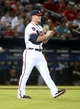 Jul 24, 2014; Atlanta, GA, USA; Atlanta Braves relief pitcher Craig Kimbrel (46) reacts to giving up a hit in the ninth inning of their game against the Miami Marlins at Turner Field. Marlins won 3-2. Mandatory Credit: Jason Getz-USA TODAY Sports