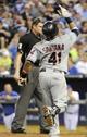 Jul 25, 2014; Kansas City, MO, USA; Cleveland Indians first baseman Carlos Santana (41) celebrates after hitting a 2 run home run against the Kansas City Royals in the sixth inning at Kauffman Stadium. Mandatory Credit: John Rieger-USA TODAY Sports