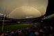 Jul 25, 2014; Denver, CO, USA; General view of double rainbow behind Coors Field during the fifth inning of the game between the Pittsburgh Pirates and the Colorado Rockies. Mandatory Credit: Ron Chenoy-USA TODAY Sports