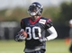 Jul 26, 2014; Houston, TX, USA; Houston Texans wide receiver Andre Johnson (80) catches a pass during training camp at Houston Methodist Training Center. Mandatory Credit: Troy Taormina-USA TODAY Sports