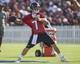 Jul 26, 2014; Houston, TX, USA; Houston Texans quarterback Case Keenum (7) throws a pass during training camp at Houston Methodist Training Center. Mandatory Credit: Troy Taormina-USA TODAY Sports